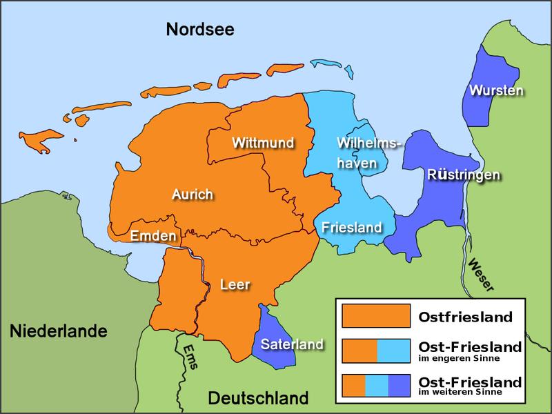 Ostfriesische Nordseeküste Karte.Friesland Region An Der Nordseekueste